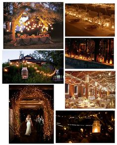 Great outdoor wedding lighting ideas. So I love every single one of these! Especially the mini light branch arch and the strand of lights hung from hooks with a mason jar on hook.