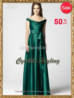 Wholesale Elegant emerald green off-the-shoulder neckline A-line prom dress formal evening gown ED136, Free shipping, $95.2-106.4/Piece | DHgate. Doesn't show the back but the front is nice.