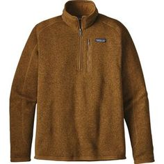 When you want the heat-trapping power of fleece, but you don't want to look like a wooly bugger, reach for the Men's Patagonia 1/2 Zip Better Sweater. It has a knit exterior for a clean, sharp look and a fleecy heat-holding interior. It is warm enough to wear as a jacket in cool weather, but when things get really chilly, you can wear it under a shell as a midlayer. Raglan sleeves lend to the athletic aesthetic and keep you comfortable when you're slinging a pack across campus or to a re...