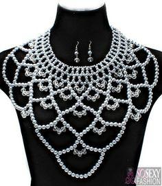 """Zara"" Pearl Crystal Bead Necklace Set - Cream - So Sexy Fashion"