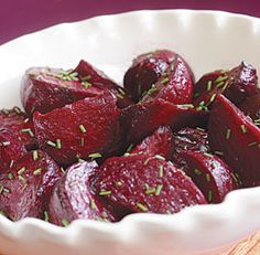 Roasted beets w/ white balsamic & Citrus dressing...I'm going to try this with white beets that I picked up at the local farmer's market...