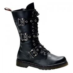 Demonia Disorder 303 Unisex Black Matt 14 Eyelet Lace-Up Combat Calf Boots with Triple Straps and Inside Zip