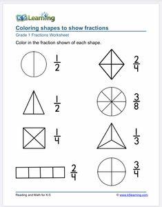 Kindergarten fractions Free Fraction Worksheets, Fraction Activities, Fractions Worksheets, 1st Grade Worksheets, Kindergarten Worksheets, Math Resources, Math Activities, Fraction Word Problems, Math Sheets