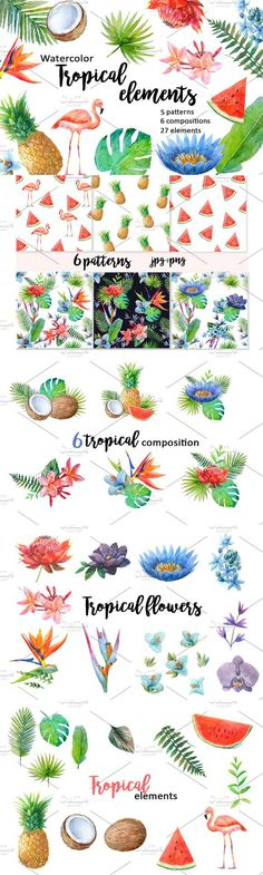 Watercolor tropical elements.. Wedding Card Templates. $15.00