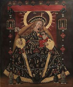 Religious Oil Painting in Colonial Style - Divine Holy Virgin | NOVICA By Fernando Sayan Polo
