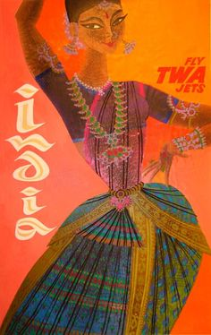 vintage travel poster FLY TWA JETS India by David Klein