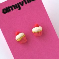 Tiny cupcake stud earrings... $18.00  DIY Inspiration (FIMO?)
