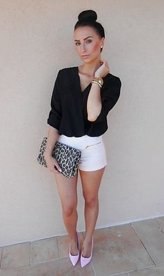 Button-down + white shorts + nude or pastel pumps + clutch