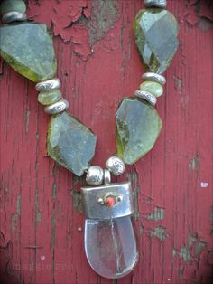 Tibetan Shaman Crystal Amulet Necklace by maggiezees on Etsy