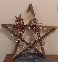"rustic wooden star wreath | 12"" Primitive Star Lathe Wood & Berries"