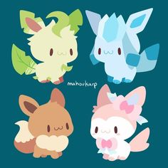 Last of the Eevees, I wanted to turn these ones into charms :0