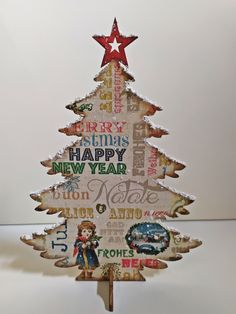 Wooden Christmas tree/decoupage by Thoulie on Etsy