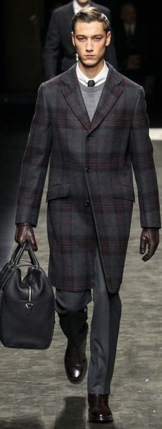 Brioni Fall 2015 Menswear | Men's Fashion | Men's Outfit for Business | Plaid Coat | Moda Masculina | Shop at designerclothingfans.com