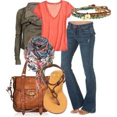 olive, jeans, corail