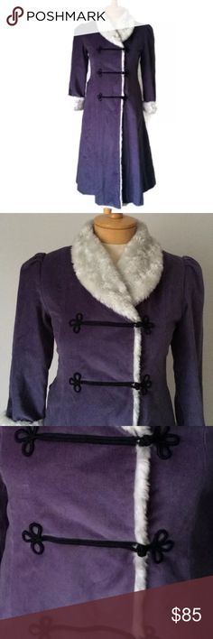 American Girl Samantha Winter Coat Velour Faux Fur Sleeve Type: Long Sleeve Neckline: V-Neck Print: Solid Embellishments: Faux Fur Collar & Cuffs Pockets: Two Pockets Closure: Loops & Snaps Size: 12 Color: Lavender/Purple  Lining: Fully Lined Fabric: Cotton; Acrylic; Polyester  PRE-OWNED: Good Condition; no visible flaws. American Girl Jackets & Coats Pea Coats