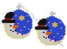 Snowman Moon Earring Bead Pattern By ThreadABead