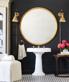 Loving this black shiplap wall + oversized mirror concept by /onekingslane/ Also this weekend sales picks are up on http://Beckiowens.com.
