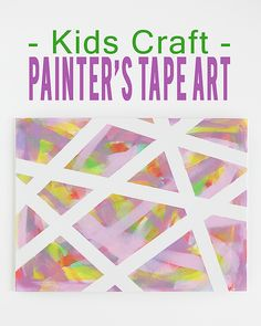 Best Ideas For Diy Crafts : Kids Craft Painters Tape Art. Just need a blank canvas, some painters tape and p. Preschool Art, Craft Activities For Kids, Craft Ideas, Painters Tape Art, Diy For Kids, Crafts For Kids, Fun Crafts, Paper Crafts, Crafty Kids
