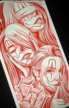 Chicano Tattoos Sleeve, Chicano Style Tattoo, Lettrage Chicano, Chicano Drawings, Chicanas Tattoo, Clown Tattoo, Skull Tattoo Design, Tattoo Design Drawings, Graffiti Drawing