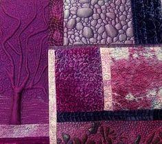 Brigit Aubeso Bell-lloch Machine Quilting Designs, Hand Quilting, Purple Quilts, Fabric Art, Journal Ideas, Mixed Media Art, Textile Art, Peridot, Fiber Art
