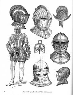 Pictorial Archive From XIX century Sources by Carol Grafton Medieval Knight, Medieval Armor, Medieval Fantasy, Knight Tattoo, Armor Tattoo, How To Draw Weapons, Medieval Tattoo, Inspiration Drawing, Medieval Helmets