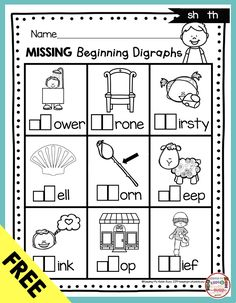 Digraphs – Phonics Unit 6 – FREEBIE — Keeping My Kiddo Busy FREE Phonics Worksheet – Missing Digraph – All About Digraphs – kindergarten and first grade phonics unit 6 – FREEBIES and orintables – literacy centers and Digraphs Worksheets, Blends Worksheets, Literacy Worksheets, First Grade Worksheets, Literacy Centers, Printable Worksheets, First Grade Freebies, Kindergarten Freebies, Homeschool Kindergarten