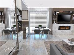 Funkčná elegancia - Dizajn kuchyne s obývačkou - Kristína Bedečová Living Room Kitchen, Luster, Conference Room, Table, Furniture, Design, Home Decor, Elegant, Decoration Home