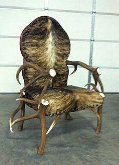 www.AntlerFurniture.org Custom Elk, Brahma Bull, and Leather Chair created by Creations Studio