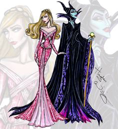 Disney Divas 'Princess vs Villainess' by Hayden Williams: Aurora & Maleficent Disney Kunst, Arte Disney, Disney Magic, Disney Art, Aurora Disney, Maleficent Aurora, Hayden Williams, Sleeping Beauty Maleficent, Disney Sleeping Beauty