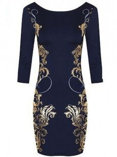 Ornamental  Printed  Round Neck With Zips Bodycon-dress