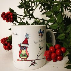 Happy Owlidays OrganiCraft Porselen Mug.