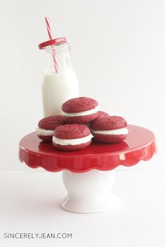 Valentines day Oreos, the perfect cookie for valentines day. Two red velvet cookies sandwiched in between the best cream filling.