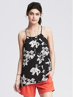 Floral Pleated High/Low Cami