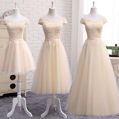 Elegant a line champagne lace off shoulder prom dress, lace evening dr – shinydress Dama Dresses, Quince Dresses, Grad Dresses, Quinceanera Dresses, 15 Dresses, Pretty Dresses, Beautiful Dresses, Bridesmaid Dresses, Formal Dresses