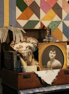 A vintage suitcase filled with things you love is a great decor idea.