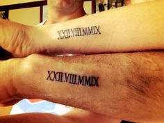 Husband & wife Roman numeral tattoo love this!!!