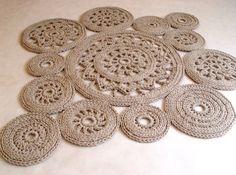 Beige cordoncino in cotone Tappeto rotondo tappeto di RNArtDesign