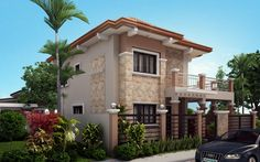 Four Bedroom Two Storey Contemporary Residence - Pinoy House Plans Two Story House Design, 2 Storey House Design, Two Story House Plans, House Front Design, Modern House Design, Contemporary House Plans, Modern House Plans, Online Architecture, Amazing Architecture
