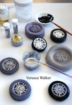 Making Wheels using a plastic toy wheel, leftover fondant + tylose