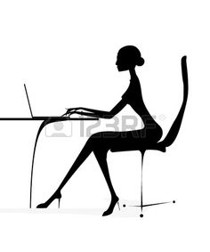 Business Woman Sitting Silhouette Silhouette business girl woman