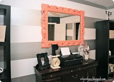 I especially like the peach color used on the white and silver walls!