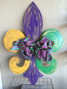 Hand Painted Wood Mardi Gras Fleur De Lis Wall or by FaithCanvases