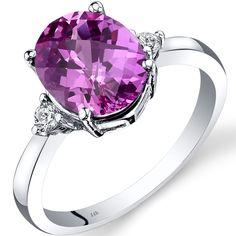 Oravo 14k White Gold 3 1/2ct TGW Created Sapphire Oval-cut 1/10ct TDW Diamond Ring