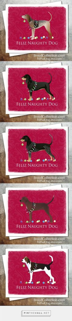❤ Coonhound Christmas Card Collection. American English Coonhound, Black and Tan Coonhound, Bluetick Coonhound, Redbone Coonhound, Treeing Walker Coonhound - created via http://pinthemall.net