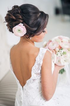 wedding updo hairstyle with pink flower - Deer Pearl Flowers