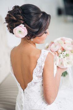 wedding updo hairstyle with pink flower - Deer Pearl Flowers