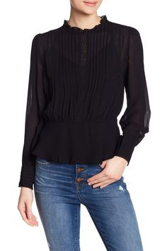 Primrose Lace Knit Trim Blouse by ASTR the Label on @HauteLook