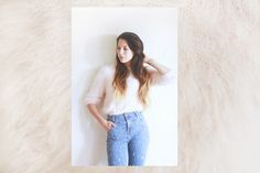 high waisted jeans, fluffy pink