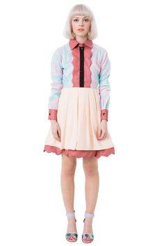"""Fabulous dress by WND.LND featuring a Faux Leather Collar, Placket, Sleeve Cuffs, Hem and Custom """"Swirl"""" Printed Fabric."""
