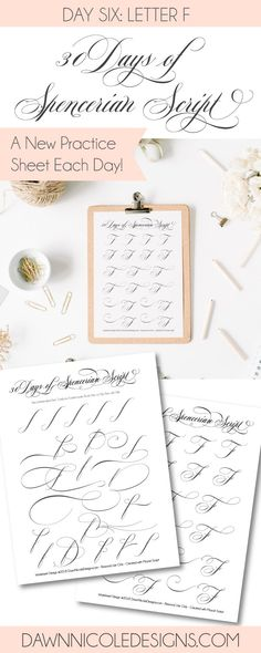 Spencerian Script Style: Letter F Worksheets. This post is part of the 30 Days of Spencerian Script Style Worksheets series. I'm posting a new free Spencerian Style Practice Worksheet every day for thirty days!